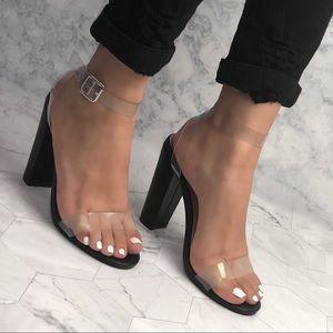Black transparent heels
